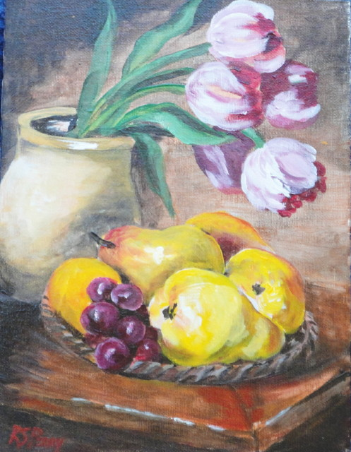 Tulips, grapes and Pears