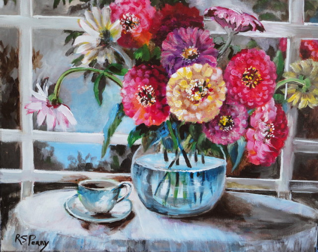 Zinnias in a water bowl