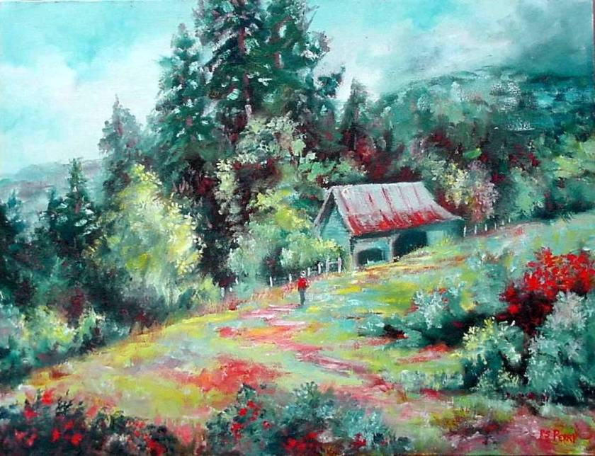 #17 Barn on Hillside 14x18