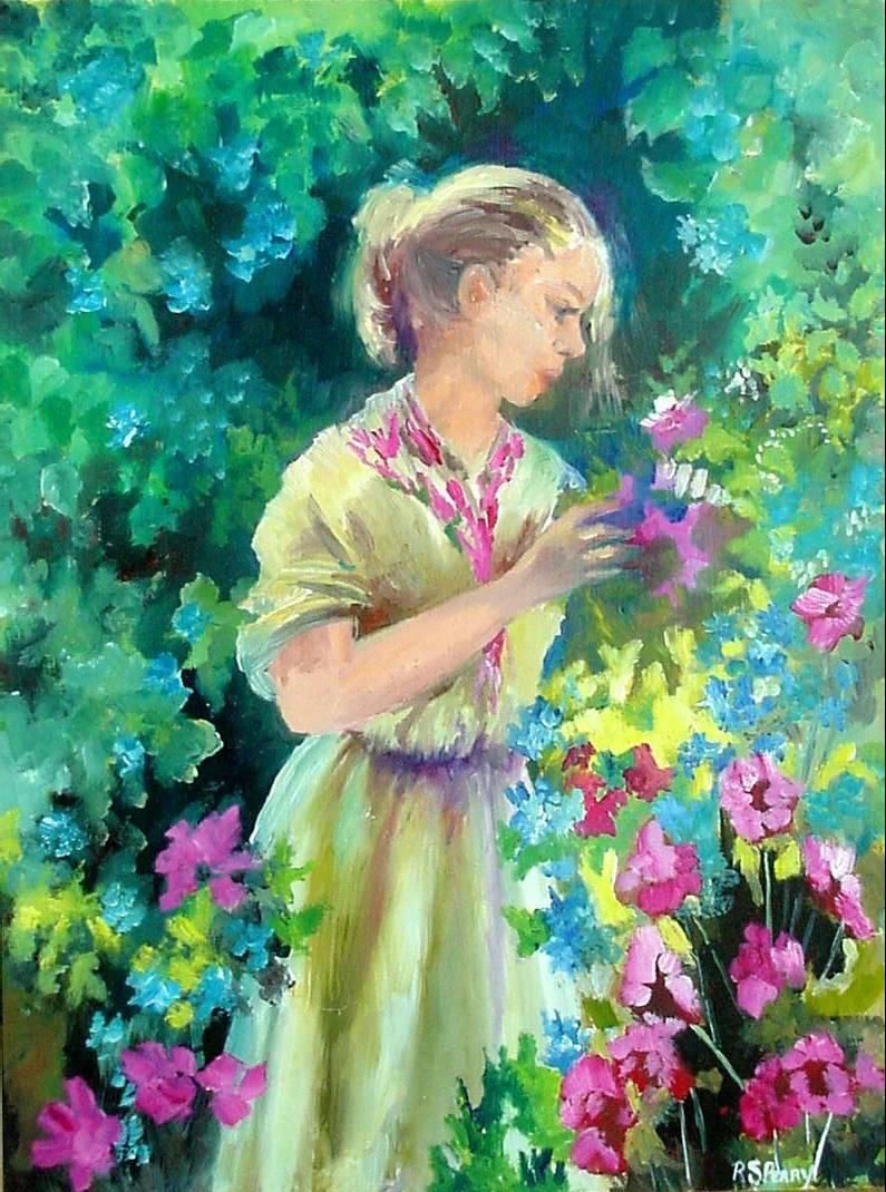 #27 Girl in a Garden 12x16