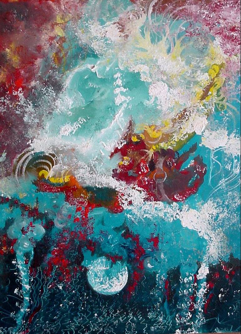 #30 Abstract with Moon & Red Horse 12x16