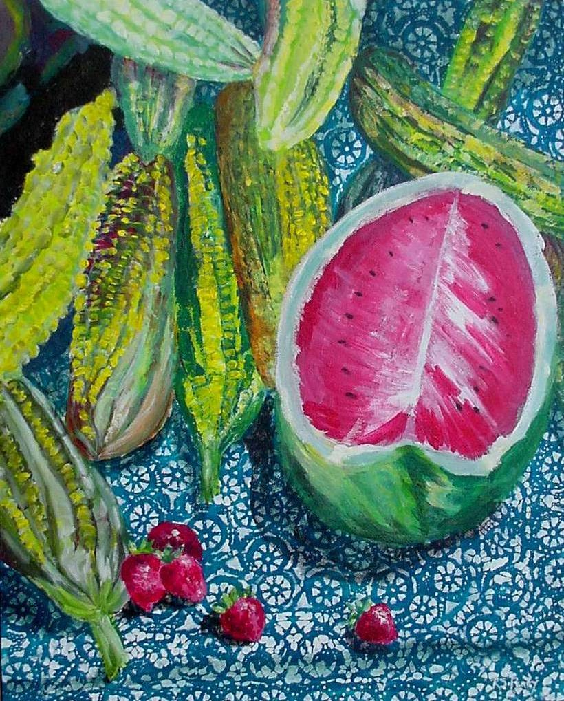 #47 River Market Watermelons 16x20