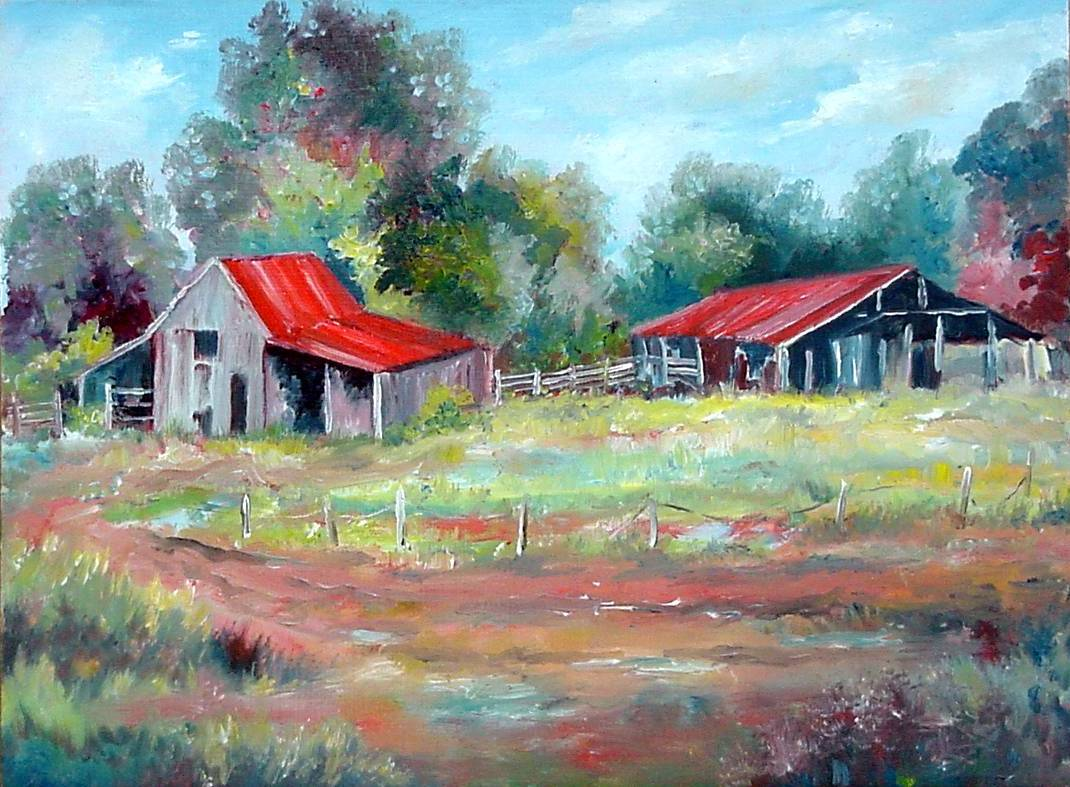 #56 Two Barns 9x12 (Sold)