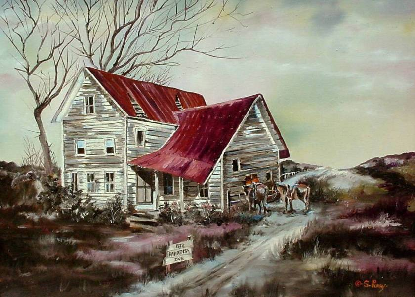 #59 Old House with Red Roof 18x24 (Sold)